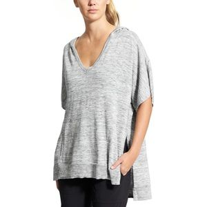 Athleta Gray Short Sleeve Hooded Sweater